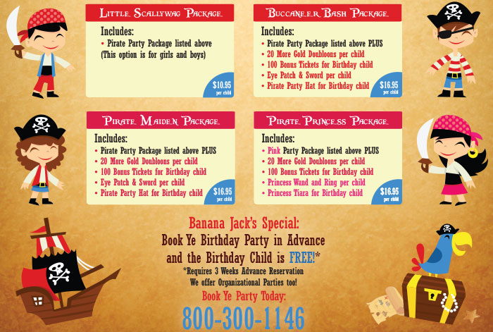 Banana Jacks Party Packages Ad